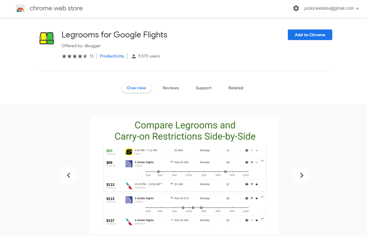 Google Chrome - Legroom - to enhance your Google Flights experience