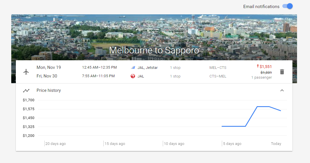 Google Flights - price tracking for selected flight