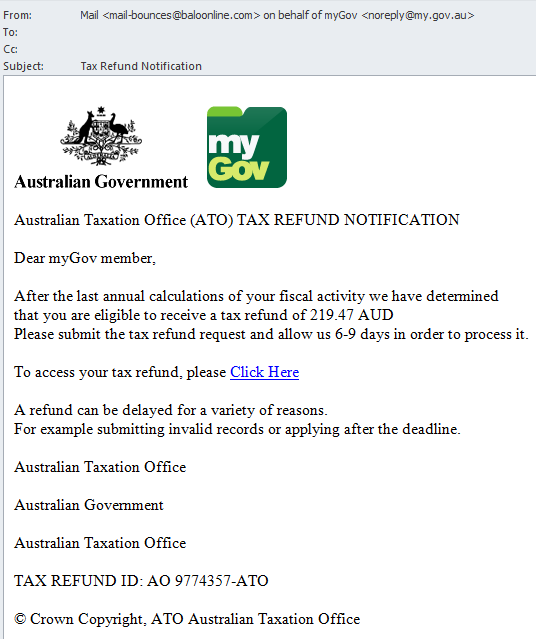 ATO phishing email - example