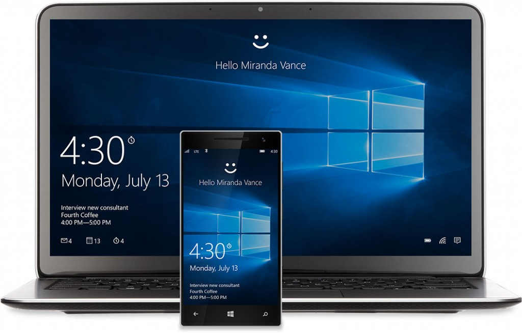 Windows 10 laptop and smartphone