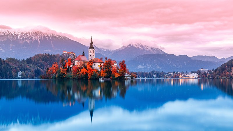 Slovenias most popular tourist spots breathtaking and pictaqure Lake Bled