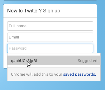 Chrome's suggested password feature