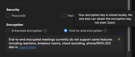 endtoend encrypted zoom meeting